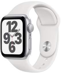 Apple Watch SE 40 mm stříbrný hliník s bílým sportovním řemínkem