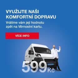 100 % zpět na Věrnostní kartu při využití Komfortní dopravy