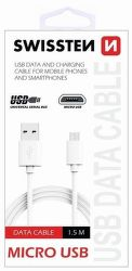 Swissten micro USB kabel 1,5m, bílá