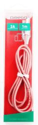 Omega Lightning - USB kabel 1,8A 1m, růžová