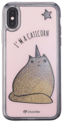 Cellularline Stardust gelové pouzdro pro iPhone X, Caticorn