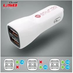 Strudo autonabíječka 2x USB, bílá + Lightning kabel 1 m