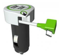 Q2 Power Tripple autonabíječka USB 2xUSB + USB-C kabel, bílá