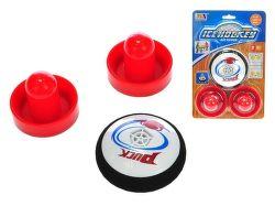 Air hokej puk 9cm + 2 mini hokejky, na baterie