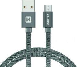 Swissten datový kabel Micro USB 2,0 m šedý