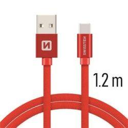 Swissten datový kabel USB-C 1,2 m červený