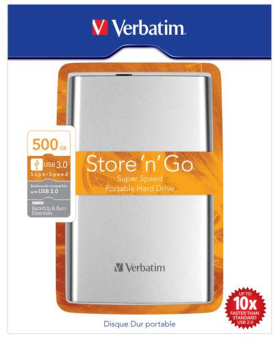 "VERBATIM 500 GB 2.5"" USB 3.0, ext. HDD Store 'n' Go strieborný"