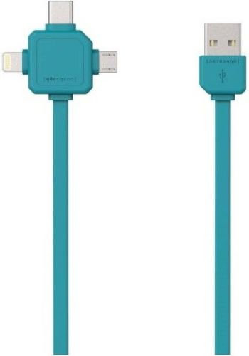 Powercube USB-C/microUSB/Lightning kabel 1,5m, modrá