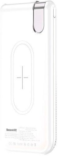 Baseus Thin USB/USB-C bezdrátová powerbanka Qi 10000 mAh, bílá