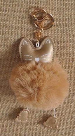 GFTSE PomPom, klíčenka kočka hnědá