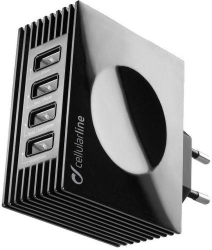 CellularLine Quad Ultra 4xUSB nabíječka 21W/4.2 A, černá