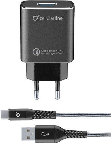 CellularLine Tetra Force nabíječka 18W QC 3.0 + USB/USB-C kabel 1m, černá