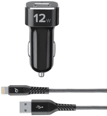 CellularLine autonabíječka 12W + kabel Tetra Force Lightning 1 m, černá