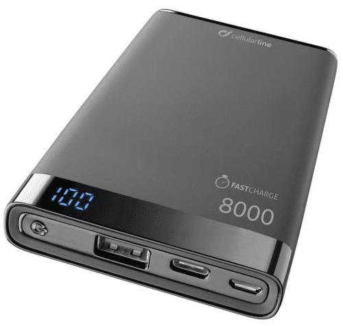 Cellularline FreePower Manta S 8000 mAh powerbanka, černá