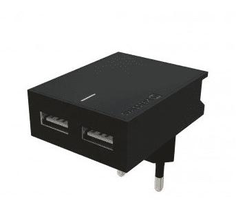Swissten Travel Slim adaptér Smart IC 2xUSB 3 A, černá