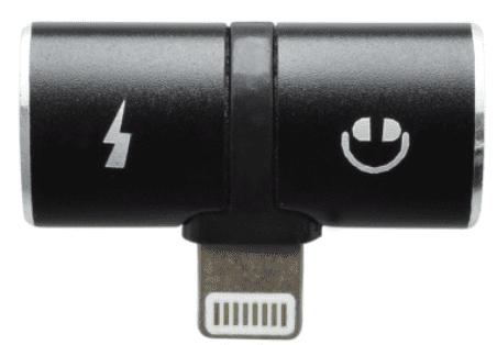 Mobilnet 2v1 3,5mm - Lightning rozdvojka, černá