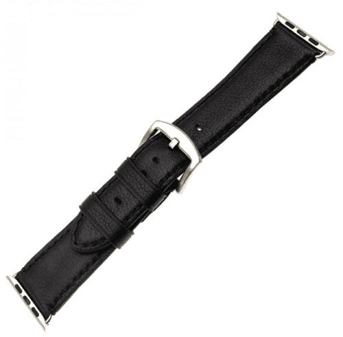 FIXED Berkeley řemínek pro Apple Watch 44 mm a 42 mm vel. L, černý se stříbrnou přezkou