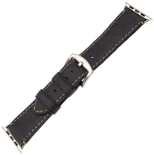 FIXED Berkeley řemínek pro Apple Watch 44 mm a 42 mm, uhlově černý se stříbrnou přezkou