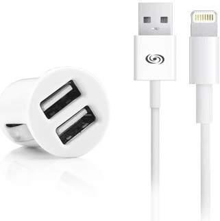 Fonex 2x USB autonabíječka, bílá + kabel USB/Lightning