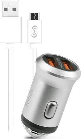 Fonex 2x USB autonabíječka, stříbrná + kabel USB/Micro USB