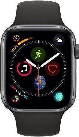 Apple Watch Series 4 44mm vesmírné šedý hliník/sportovní černý řemínek