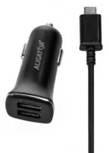 Aligator autonabíječka 2xUSB 2,4A, černá + USB-C kabel