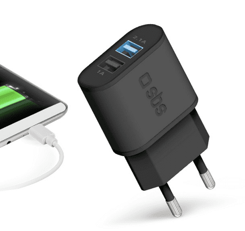 SBS Fast Charge 2xUSB adaptér 2,1 A, černá