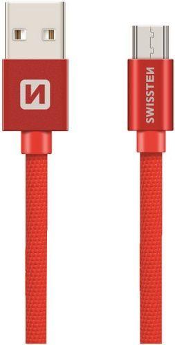 Swissten Textile kabel USB/Micro USB 0,2 m, červená