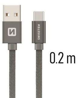 Swissten USB/USB-C kabel 0,2 m, šedá