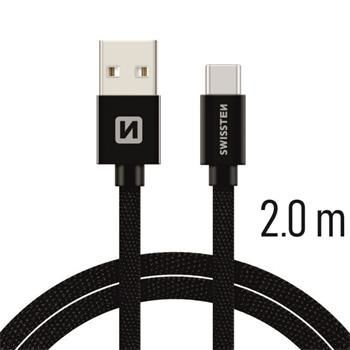 Swissten USB/USB-C kabel 2,0 m, černá