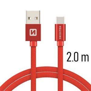 Swissten USB/USB-C kabel 2,0 m, červená