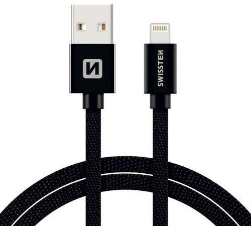 Swissten Lightning datový kabel 1,2m černá