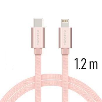 Swissten USB-C/Lightning dátový kábel 1,2m, růžovo-zlatá