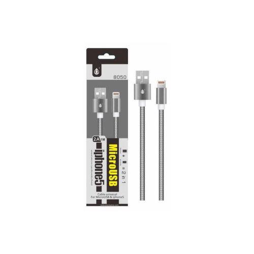 Aligator 8050 2v1 microUSB/Lightning kabel 2,1A 1m, stříbrná