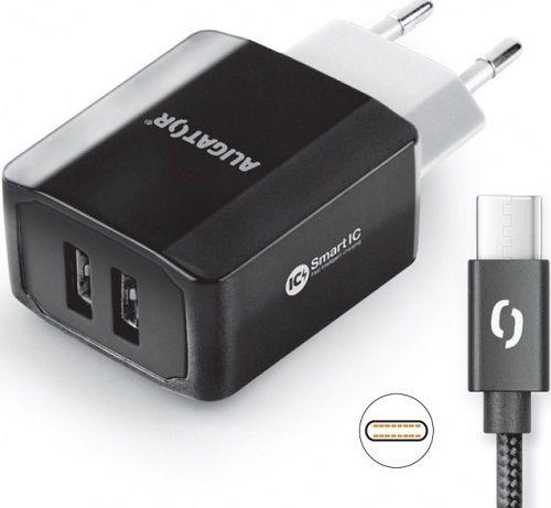 Aligator Smart IC 2x USB síťová nabíječka + kabel USB-C, černá