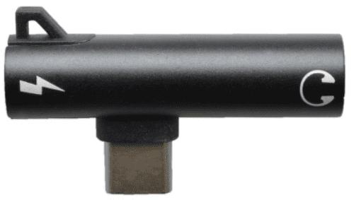 Mobilnet 2v1 3,5mm - USB-C rozdvojka, černá
