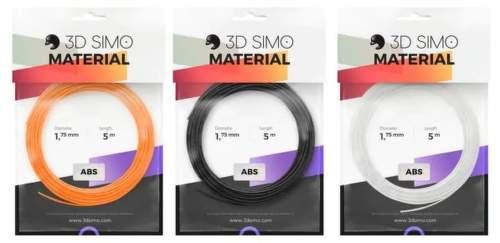 3Dsimo ABS filament 1.75mm 3x 5m (černý, bílý, oranžový)