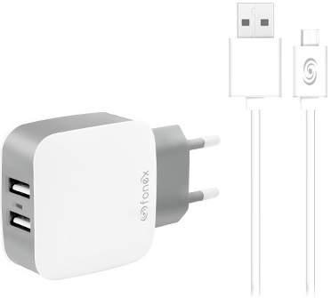 Fonex 2x USB nabíječka + kabel USB/Micro USB, bílá