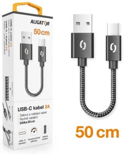 Aligator Premium USB-C kabel 2A 50 cm, černá