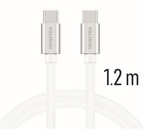 Swissten Dátový kábel USB-C / USB-C 1,2 m strieborná