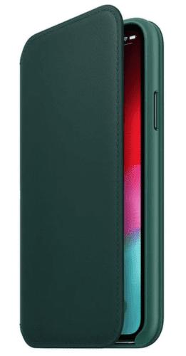 Apple kožené pouzdro Folio pro iPhone XS, piniově zelená