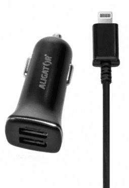 Aligator autonabíječka 2xUSB 2,4A, černá + Lightning kabel