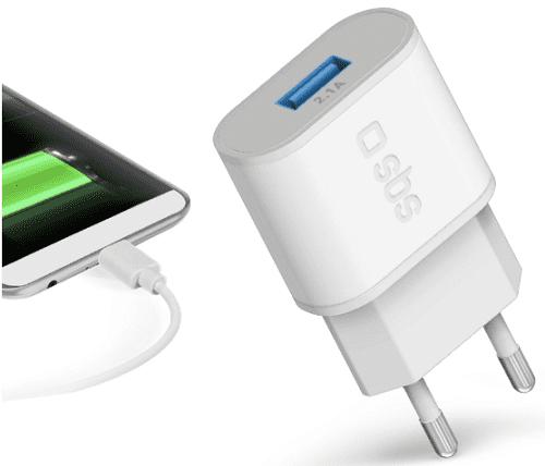 SBS adaptér s rychlým nabíjením 1x USB 2.1A, bílá