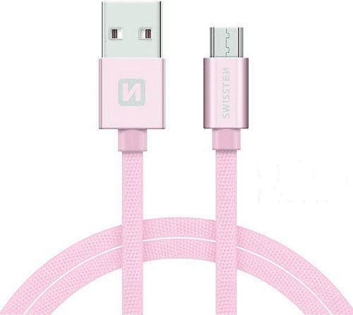 Swissten kabel USB/Micro USB 2,0 m, růžovo-zlatá