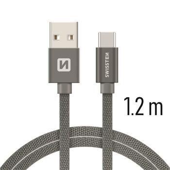 Swissten USB/USB-C kabel 1,2 m, šedá