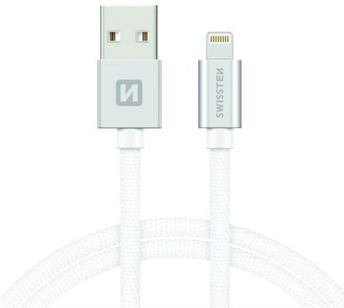 Swissten Lightning datový kabel 1,2m stříbrná