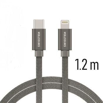 Swissten USB-C/Lightning datový kabel 1,2m, šedá