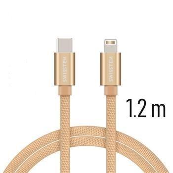 Swissten USB-C/Lightning datový kabel 1,2m, zlatá