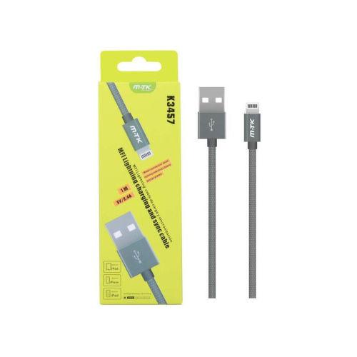 Aligator K3457 MFI Lightning kabel 2,4A 1m, stříbrná