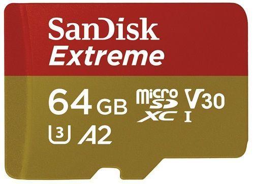 Sandisk Extreme microSDXC 64 GB Class 10 V30 A2 UHS-I U3 + SD adaptér